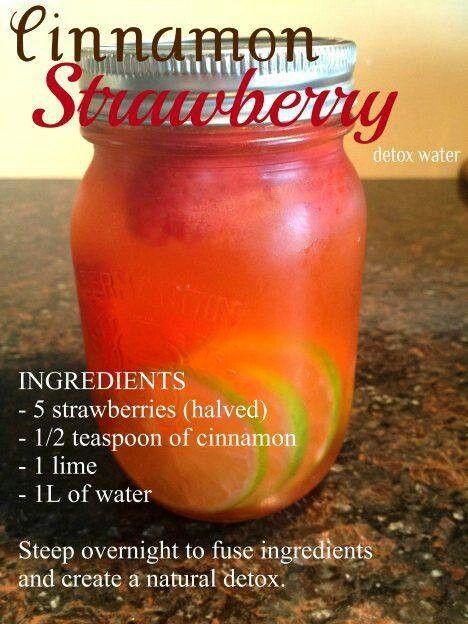 Natural detox. 1\2 teaspoon cinnamon,5 strawberries and 1 lime.