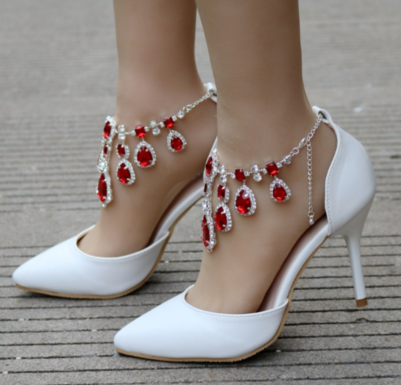 49++ Red wedding shoes with rhinestones ideas