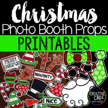 "This bundle of Christmas props is perfect for creating your own fun and festive photo booth for your classroom, parties, family gatherings and more! Just print on cardstock, tape on wooden skewers, pencils or straws and you're all set!Included in this bundle are 27 different props (multiple colored versions included):- santa hat- elf hats- bowties- neckties- glasses- Santa beard- carrot nose- snowman hat- gingerbread man- reindeer antlers- ""Merry Christmas"" sign- mustaches - ""HO HO HO""…"