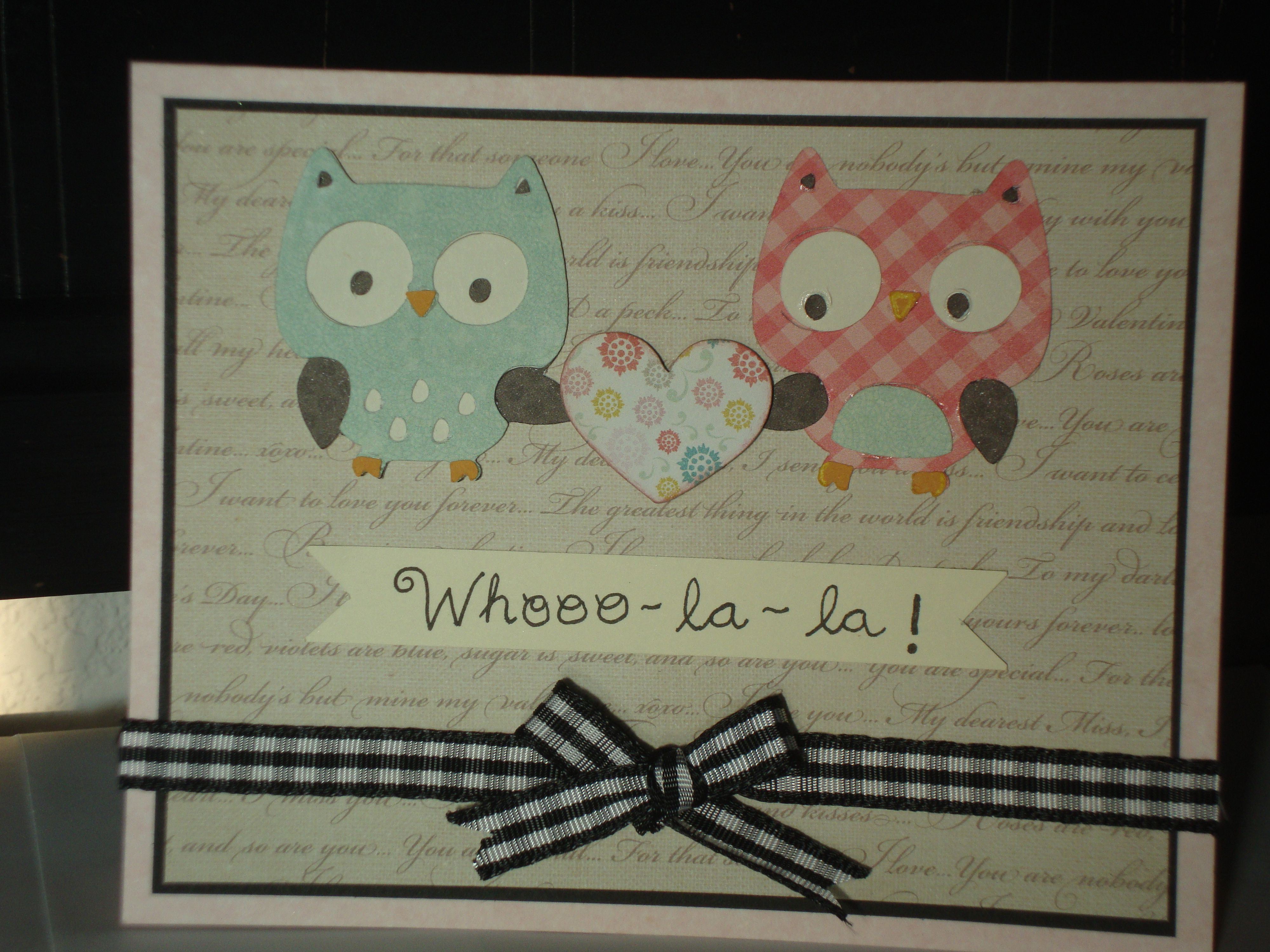Owl anniversary love or valentines card create a critter 2