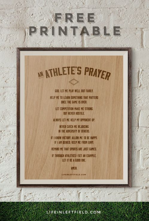 An Athlete S Prayer Printable Crafty 2 The Core Diy