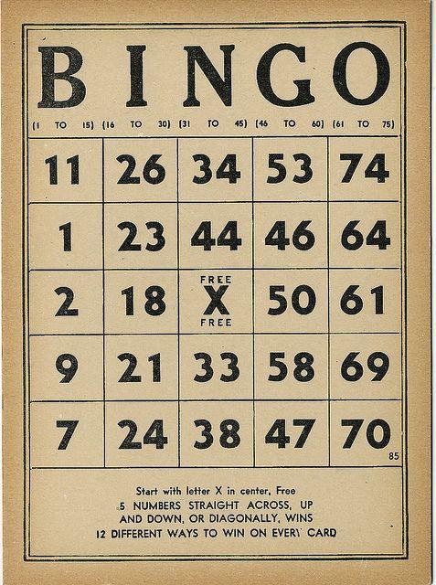 Vintage Bingo Free Vintage Printables Bingo Bingo Cards Printable
