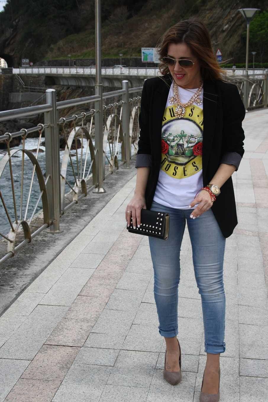 camiseta guns and rosas y lady rock
