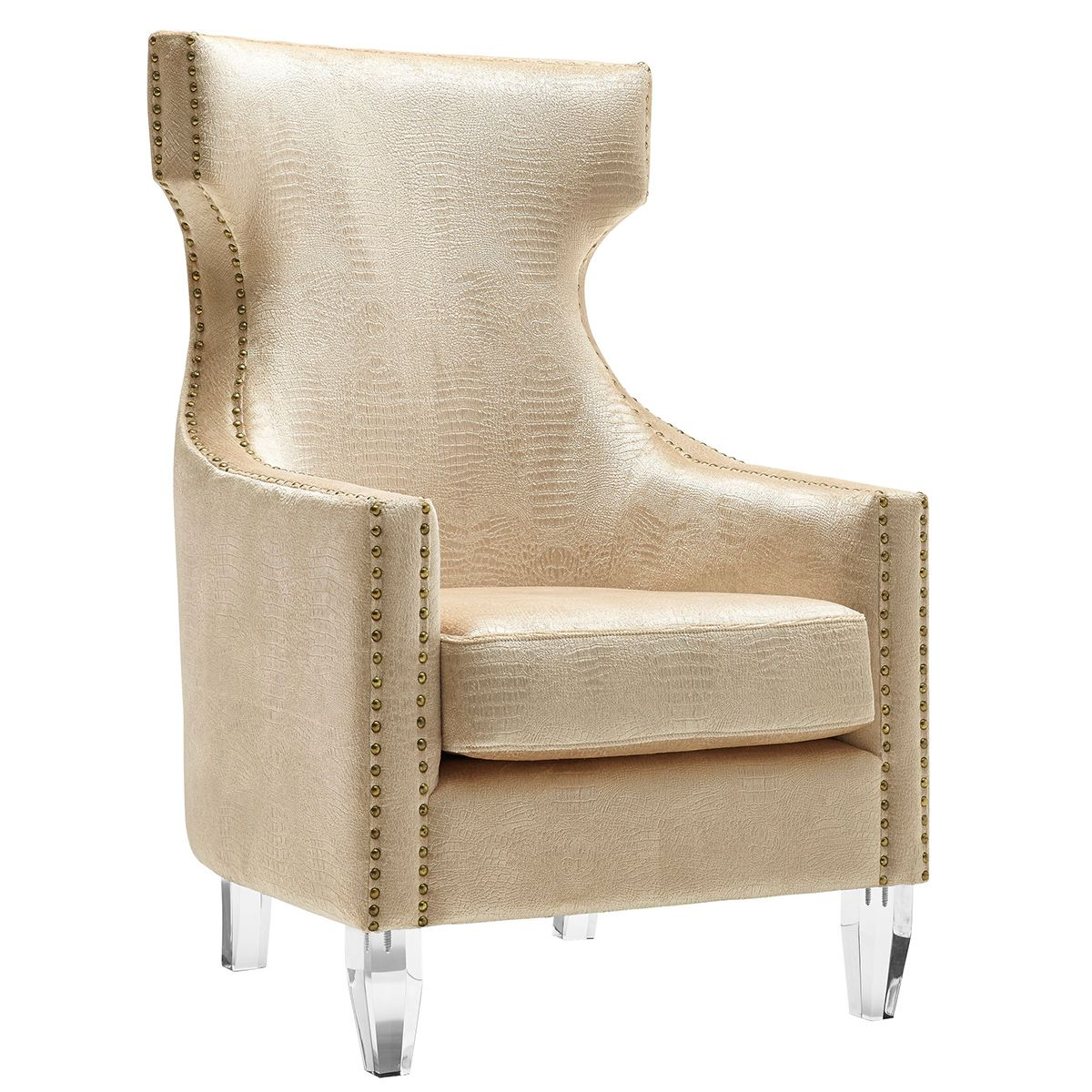 Comfortable arm chairs - Tov Gramercy Croc Velvet Wing Arm Chair Gold