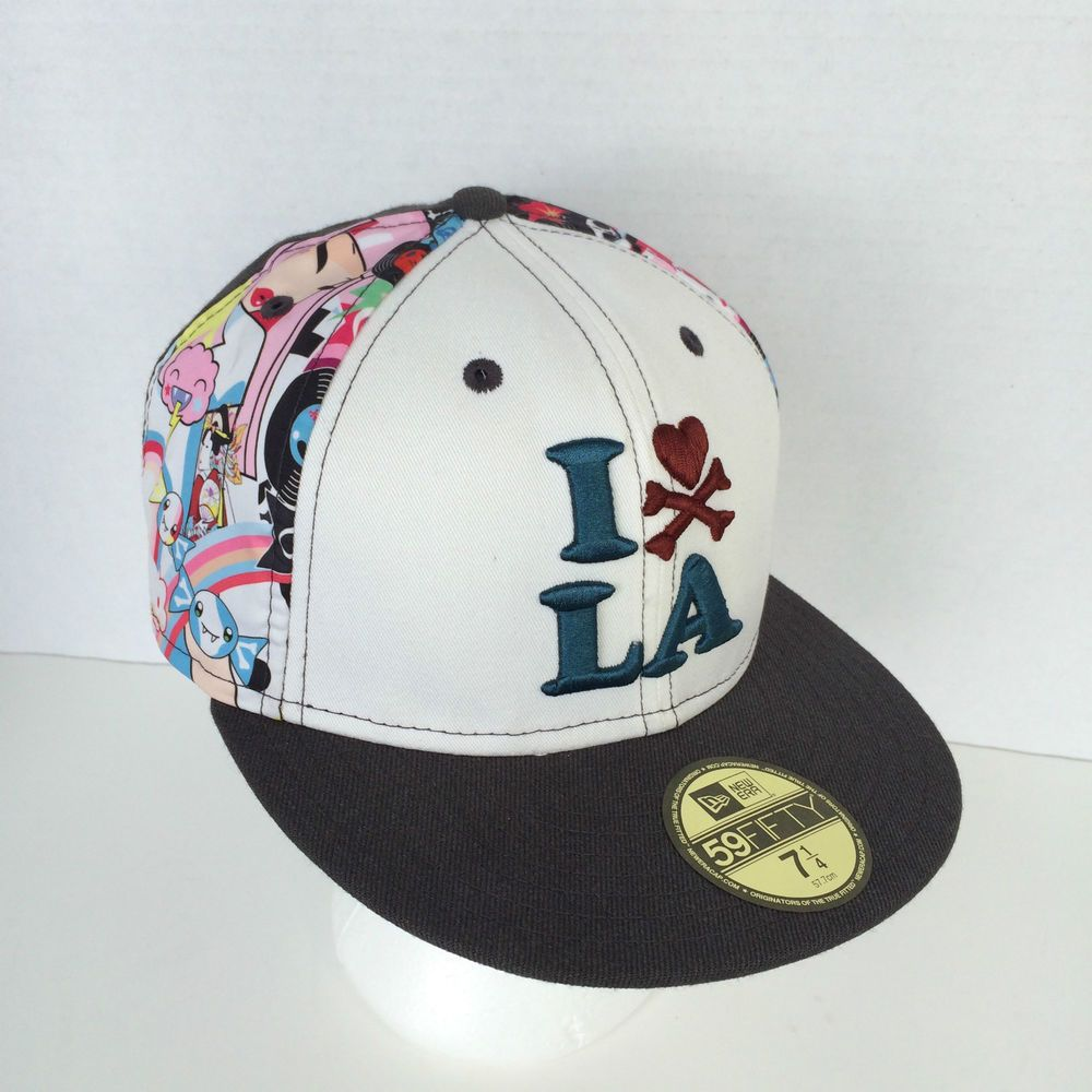 Tokidoki I Love La Hat New Era 59fifty Fitted 7 1 4 Grey White W Black Lining New Era 59fifty I Love La Grey And White