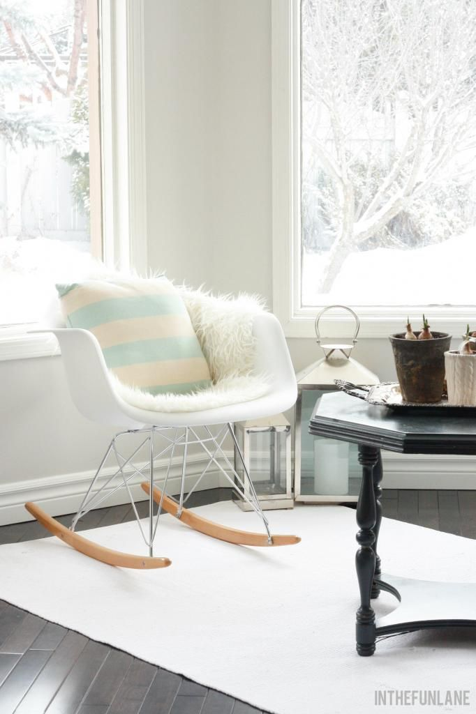 White, Fur Throw And Pastel Pillow. Love The Rocking Chair Styling As Well