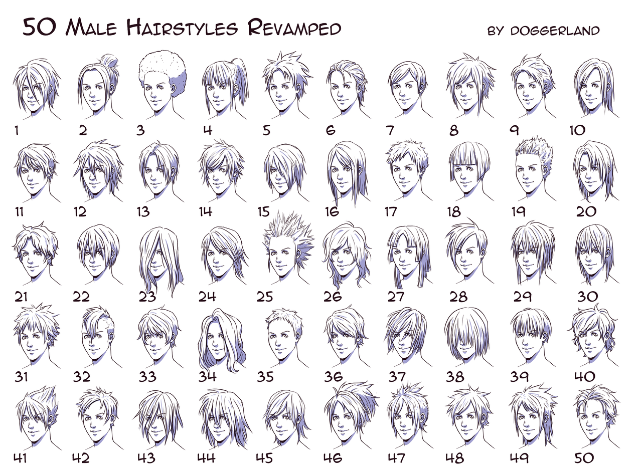 50 Male Hairstyles Revamped By Orangenuke On Deviantart Manga Hair Anime Boy Hair Guy Drawing