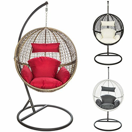 Tectake Garden Swing Chair With Standing Steel Frame Cushions Poly Rattan Hanging Pod Different Colours Brown