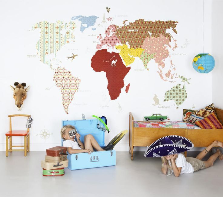 Map Of The World Wallpaper For Kids Rooms Pretty Kids Room - Wall map children's room