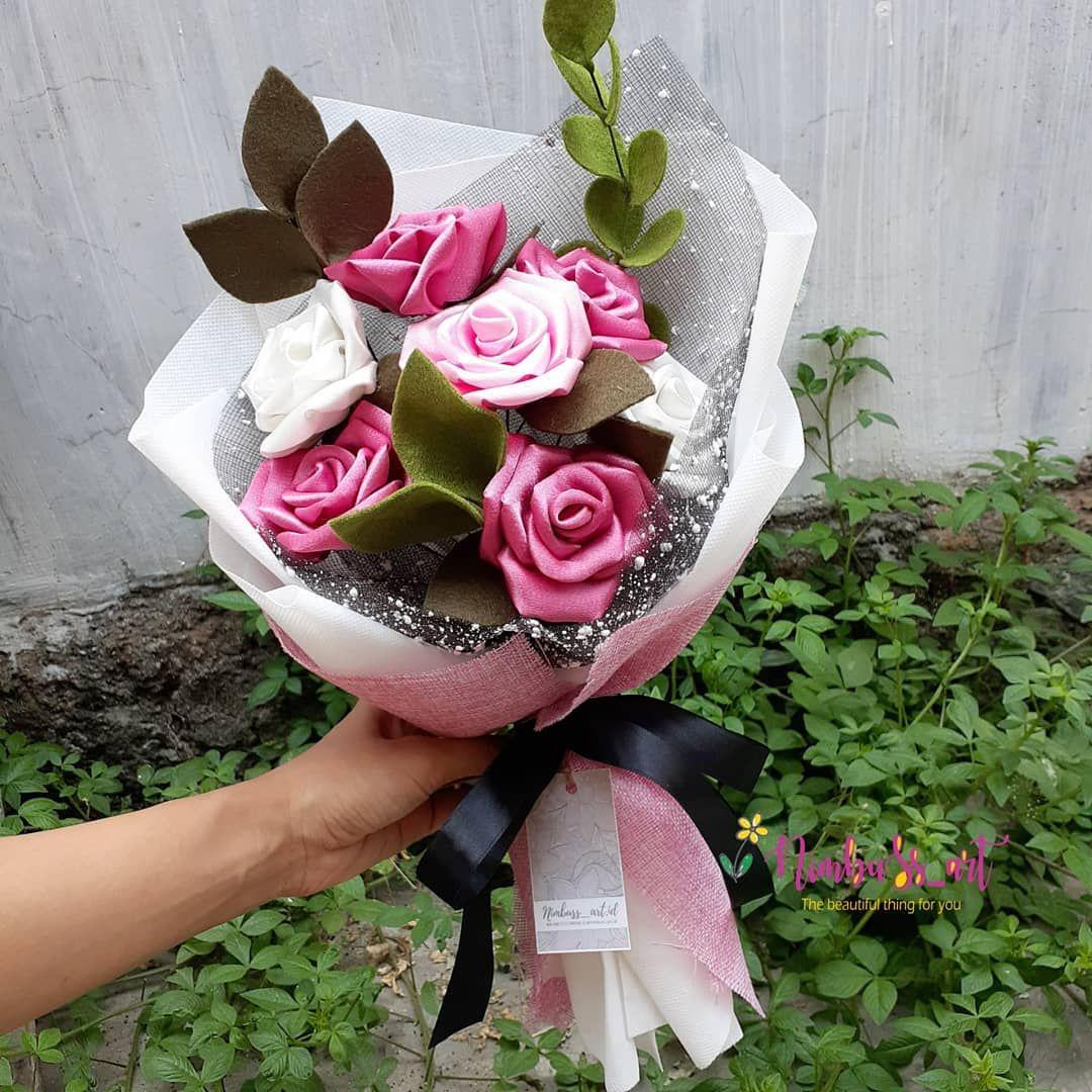 Premium Elegant Satin Flower Size Medium 7 Tangkai Idr 73k Buket Kami 100 Originally Handmade Ya Dibuat Satu Demi Satu Bagiann Rose Plants Flowers
