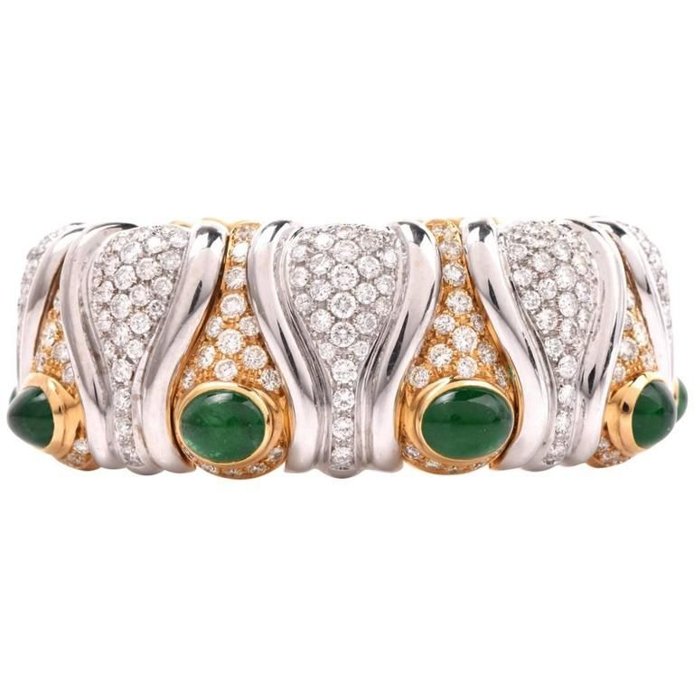Stunning  Diamond Emerald Gold Cuff Bangle Bracelet