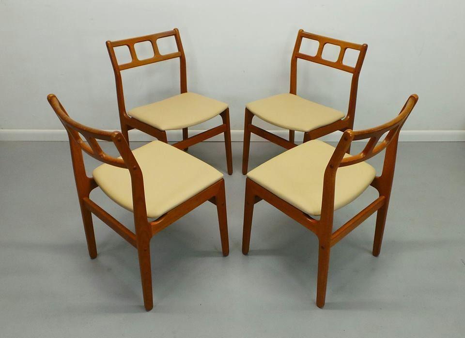 Set Of 4 Teak Attractive Mid Century Danish Modern Reupholstered