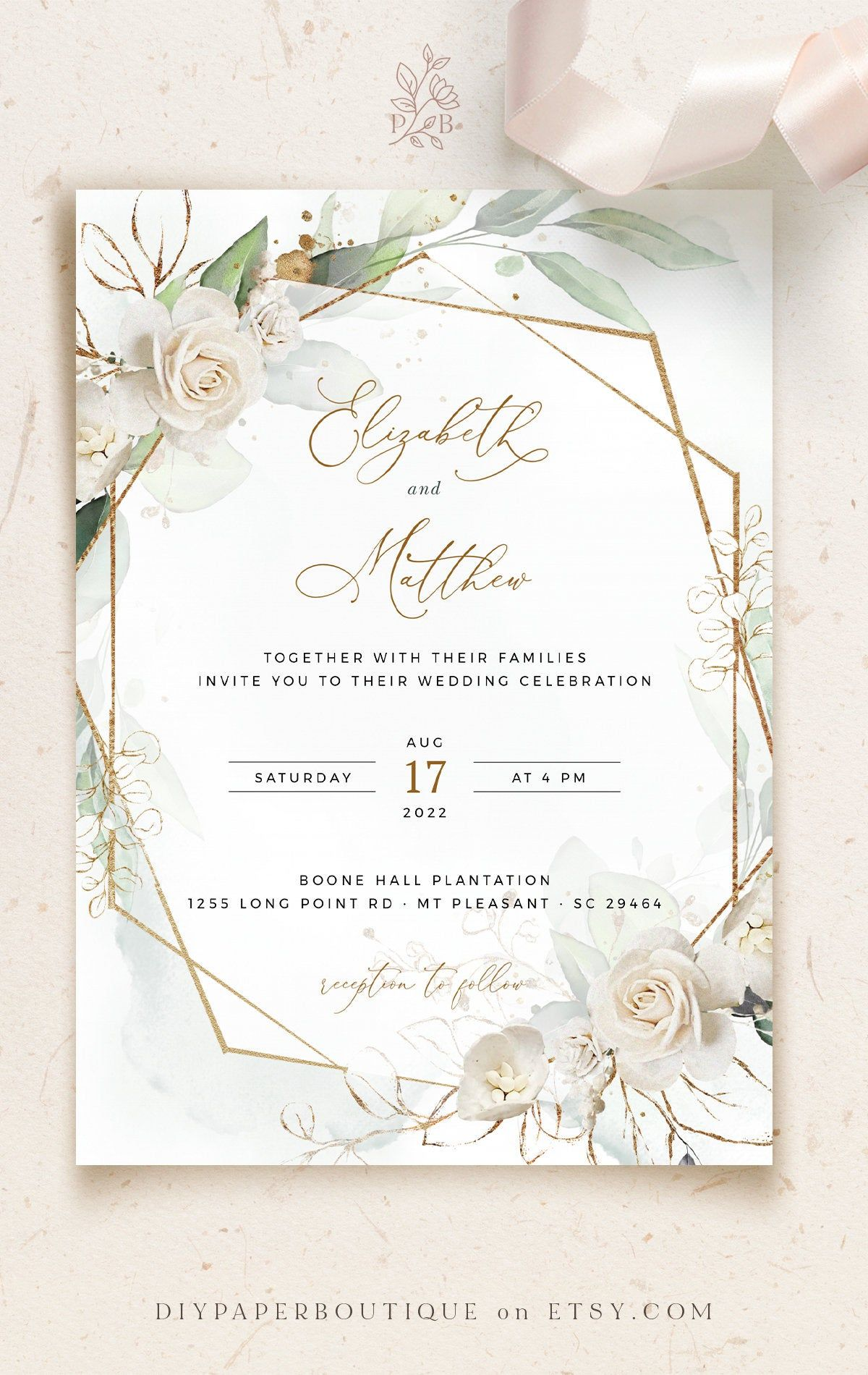 Marci Geometric Wedding Invitation Template White Rose Faux Etsy In 2020 Geometric Wedding Invitation Digital Wedding Invitations Design Digital Wedding Invitations