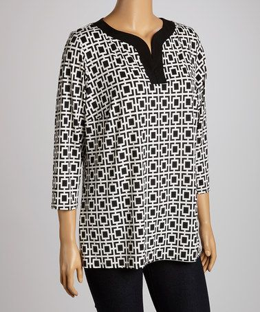 Look at this #zulilyfind! Black & White Squares Geometric Notch Neck Tunic - Plus by Intriguing Threads #zulilyfinds