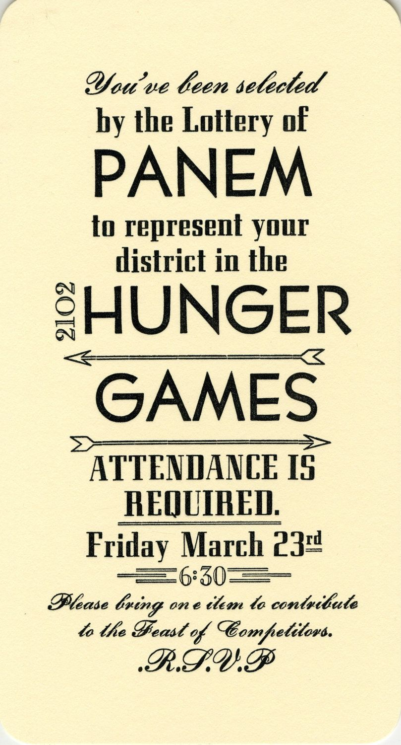 Hunger Games Party Invitations what are you hungry for? Enrichment ...