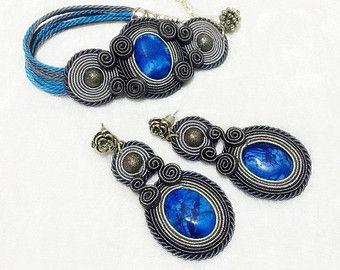 Soutache Ohrringe & Armband set mit blauer Achat
