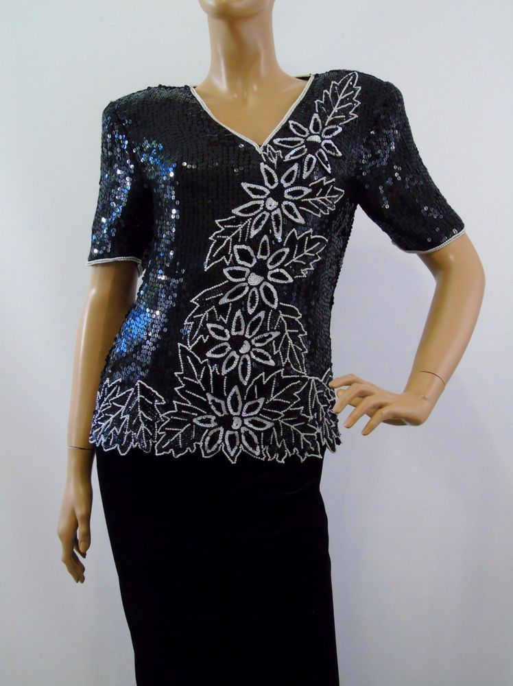 82472f0c1495b Stenay Black and White Silk Sequin Beaded Formal Evening Top Blouse Size  Small