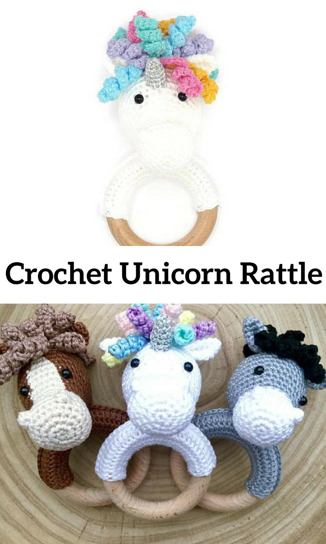 CROCHET PATTERN unicorn rattle (+ free donkey and horse pattern ...
