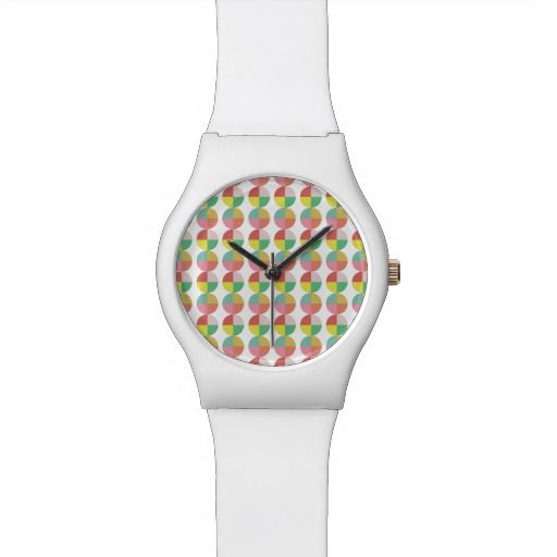 Geometric colorful pattern wrist watch