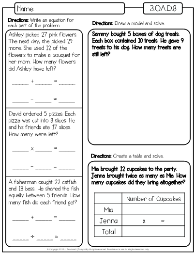 This Is A Set Of Worksheets For The Third Grade Math Standard 3 Oa D 8 Which Is Solve Two Step Word P Word Problems Word Problems 3rd Grade Math Word Problems
