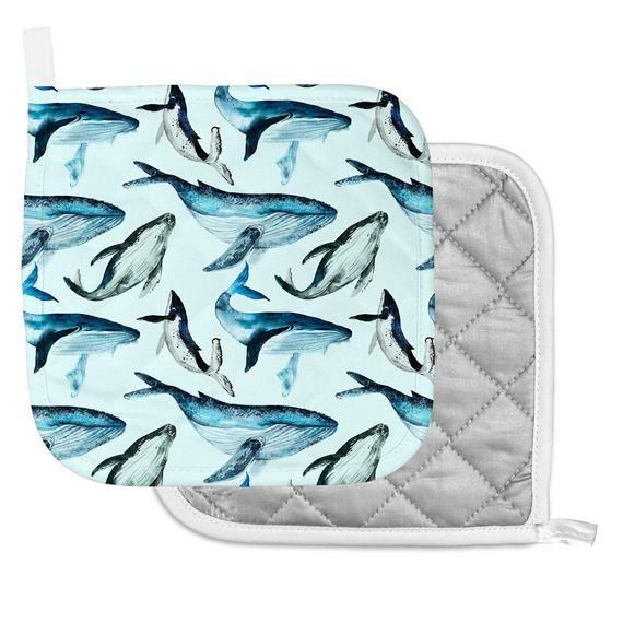 Whale Mittens Kitchen Wall Art Sea Housewarming Gift Oven Mitt For
