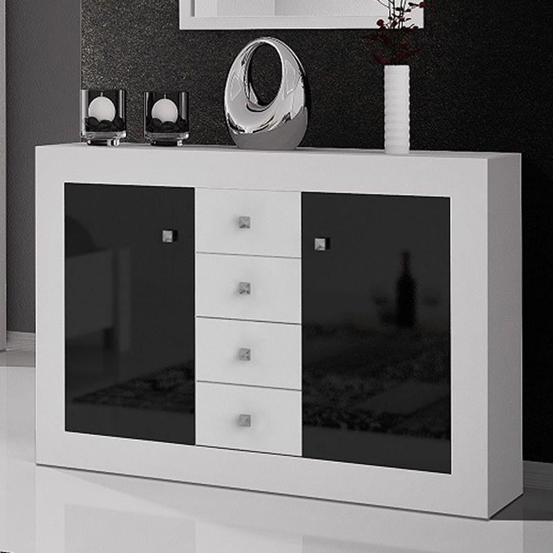 Commode Blanc Et Noir Laque Design Meuble A Tiroir Commode Design Meuble Rangement