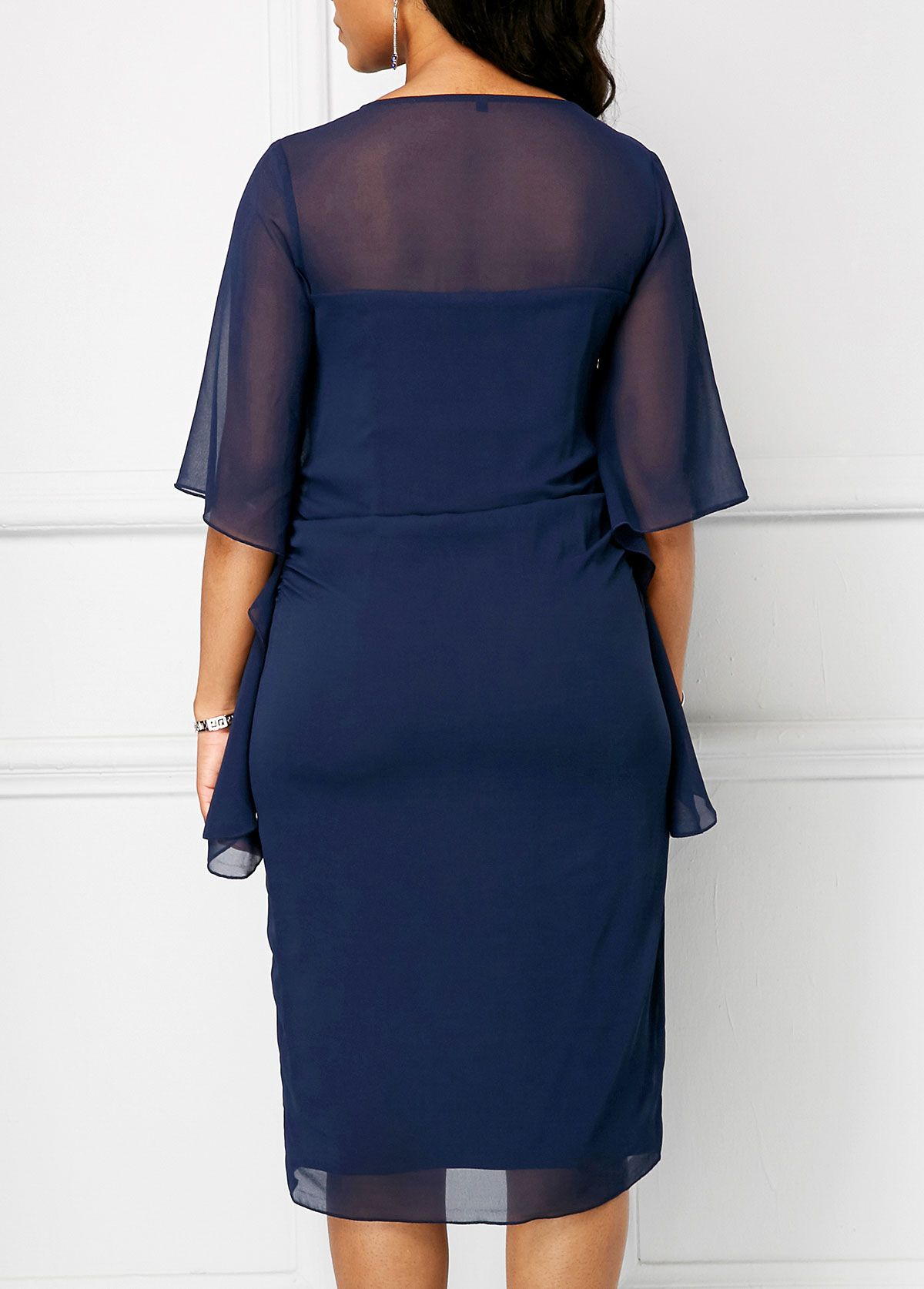 60db905baedde Navy Blue Half Sleeve Chiffon Overlay Dress