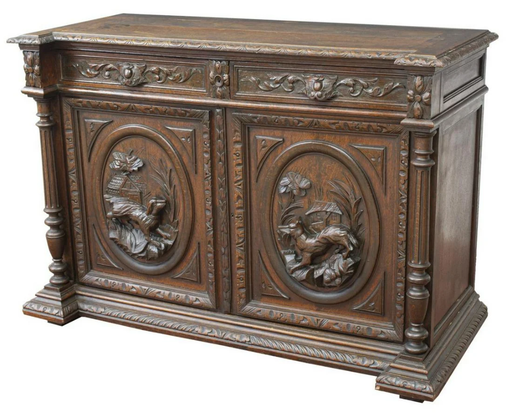 For Auction French Henri Ii Style Carved Oak Hunt Sideboard 1443 On May 31 2020 Austin Auction Gallery In Tx In 2020 Oak Extension Dining Table Oak Sideboard