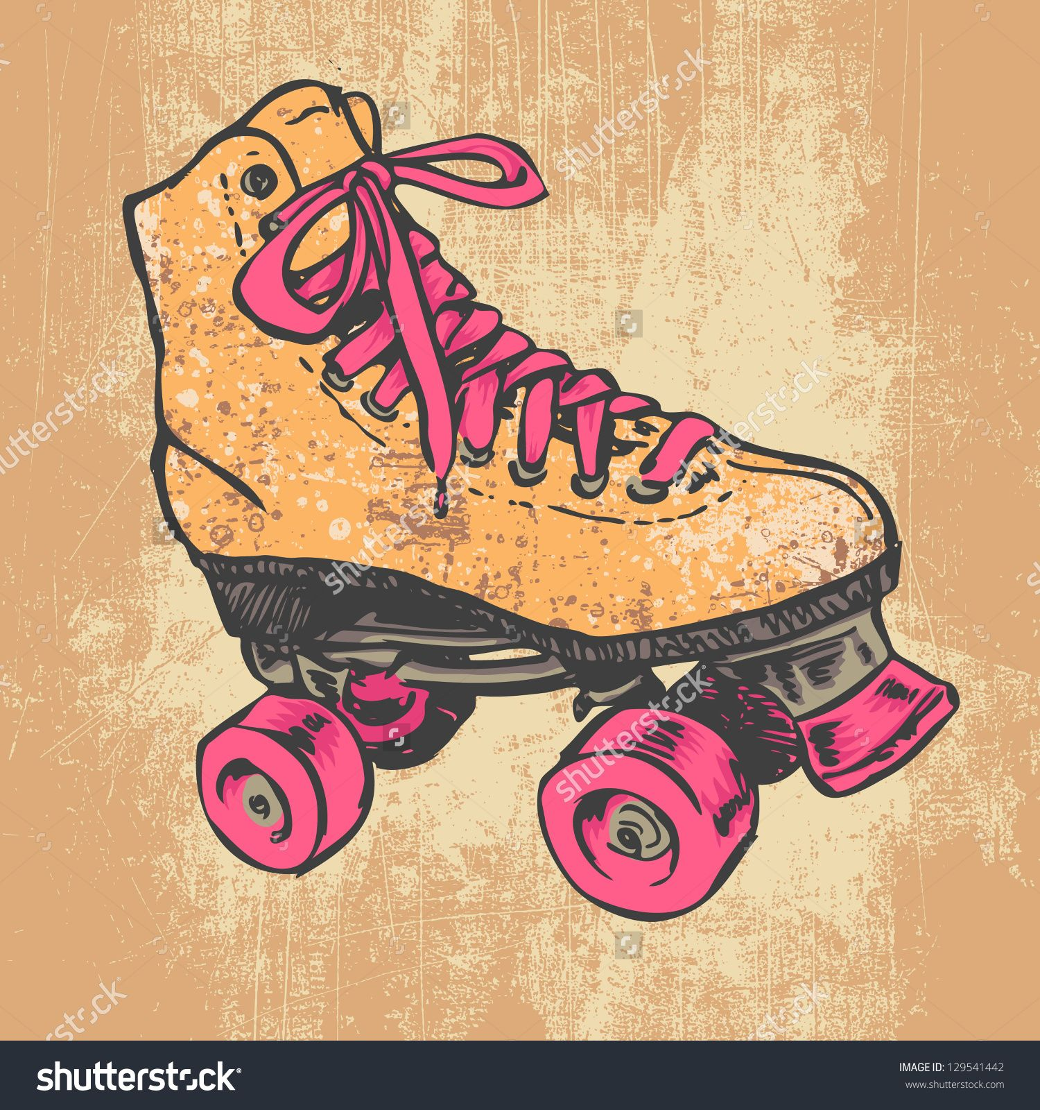 Retro Roller Skate And Grunge Texture Background Vector Illustration Retro Roller Skates Roller Derby Art Roller Skating