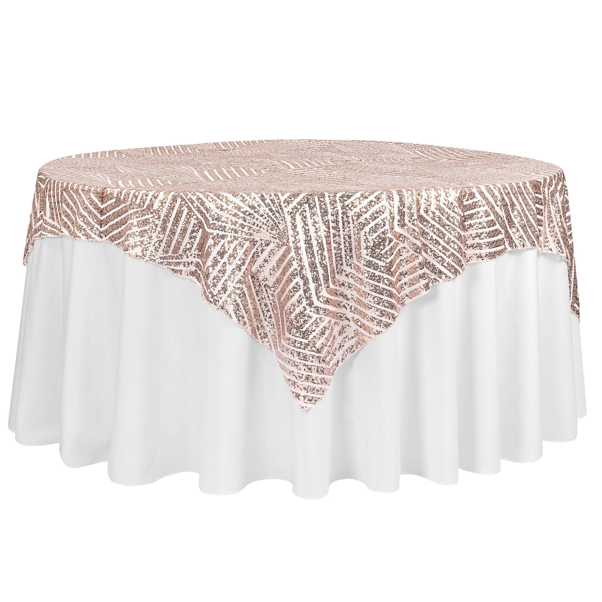 Geometric Glitz Art Deco Sequin Table Overlay Topper 72 X72 Square Blush Rose Gold In 2020 Sequin Table Event Decor Direct Table Overlays