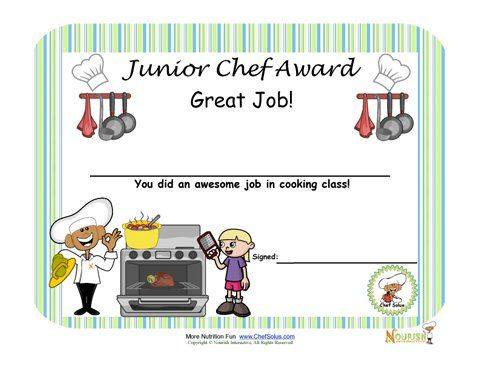 Cooking with kids is a great way to encourage children to learn - sample certificates for kids