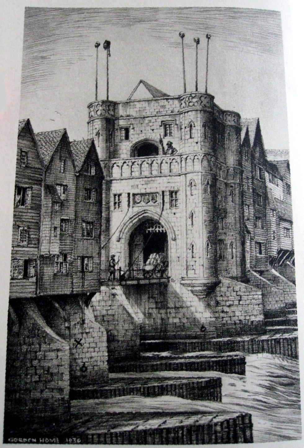The Drawbridge Gate of Old London Bridge. Built in 30 and pulled