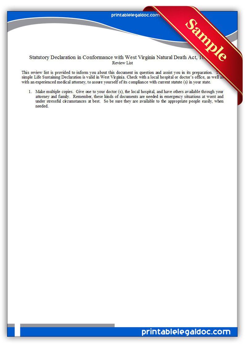 Free Printable Life Sustaining Statute West Virginia Form