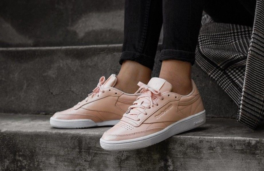 aacffeb2ba0 REEBOK CLUB C 85 PATENT W DESERT DUST   WHITE SNEAKERS IN ALL SIZES  Reebok   RunningShoes