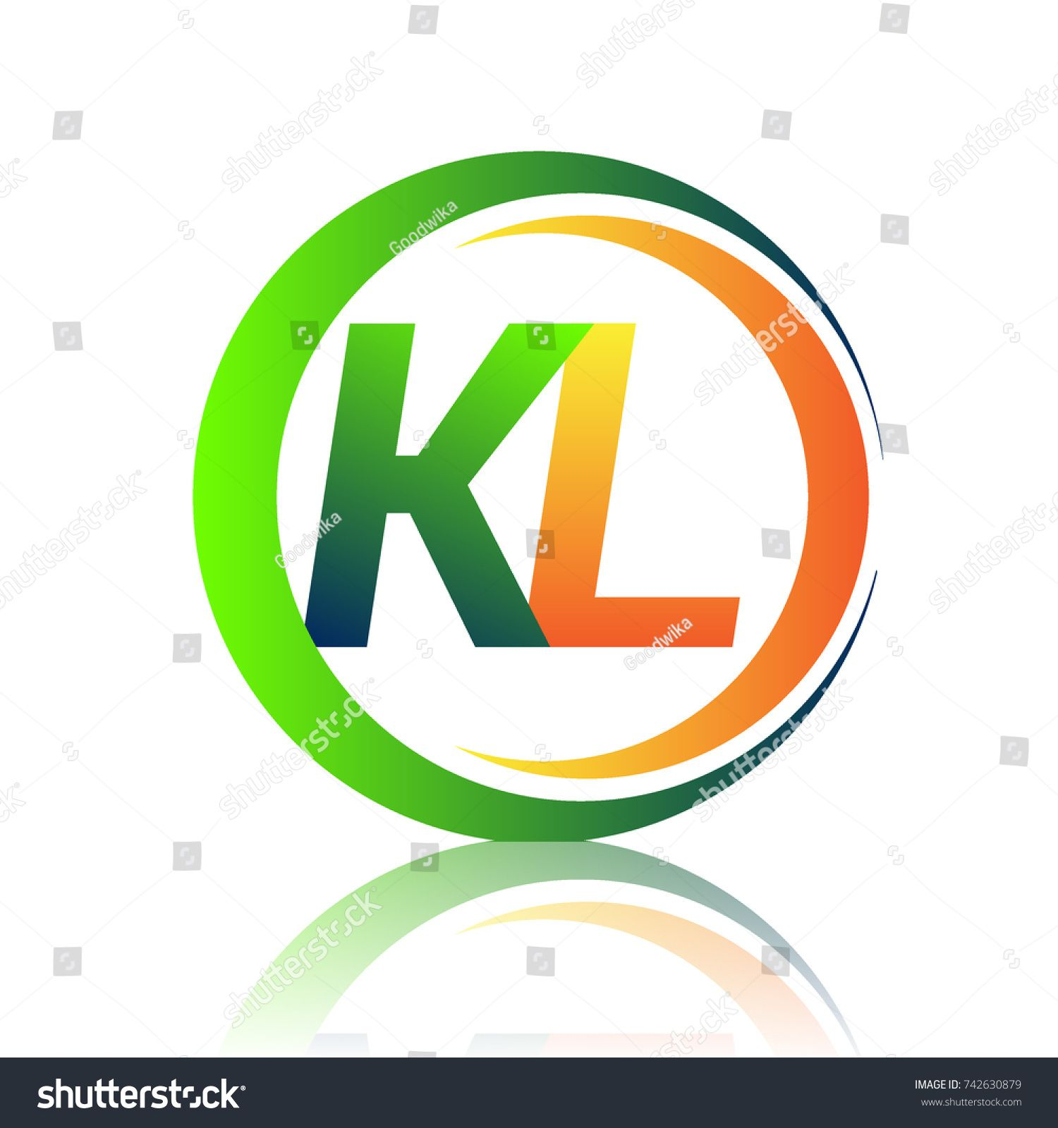 initial letter logo KL company name green and orange color