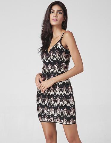 ab536527a4e795 Wrap Front Sequins Overlay V Back Short Party Pub Bodycon Slip Dress ...