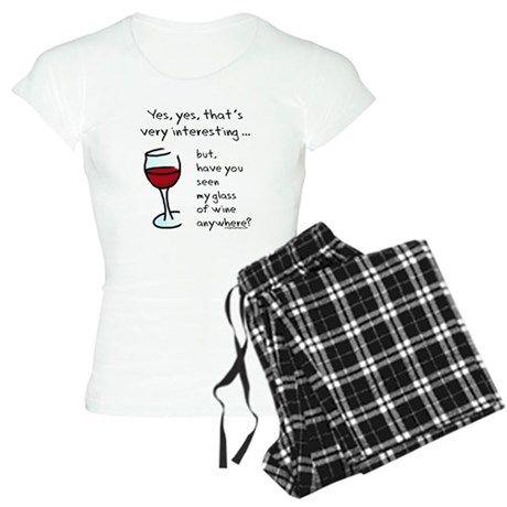 Flamingo in Wine Glass Pajamas Womens Pajama Set CafePress