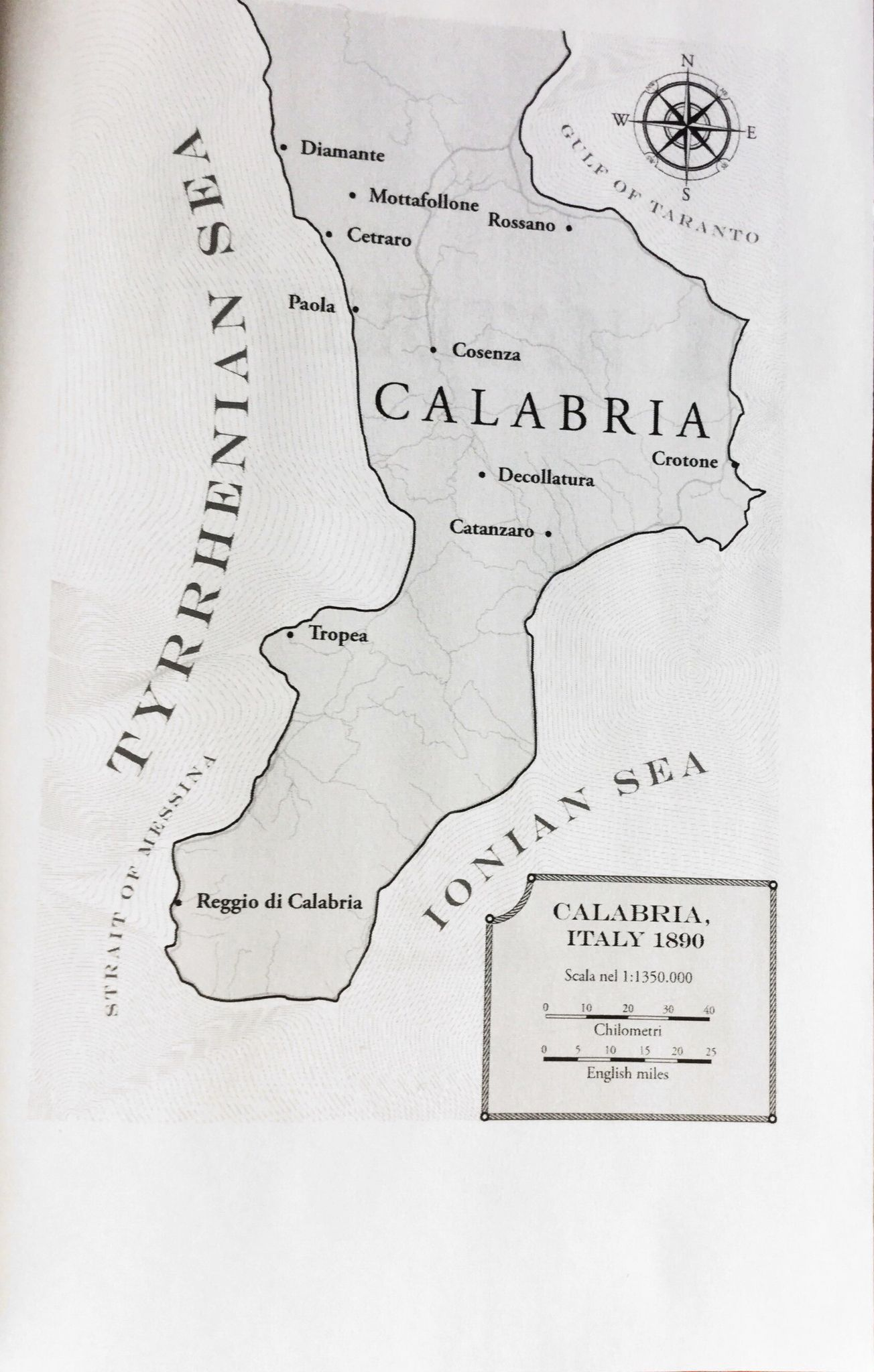 Map of Calabria Italy 1890 during time of The Inheritance Included