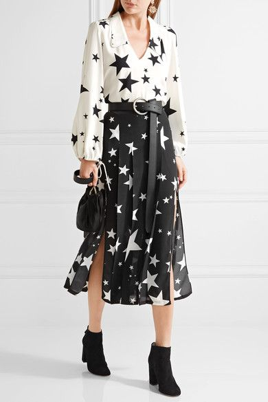 White and black crepe Slips on viscose Dry clean Designer color: Ibiza Star  Print White Imported