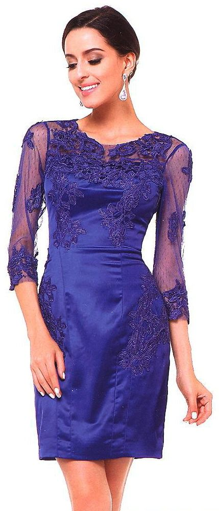 Evening Dresses under $100<BR>383<BR>Illusion scoop neckline short dress decorated with beaded appliques, 3/4 sheer sleeves