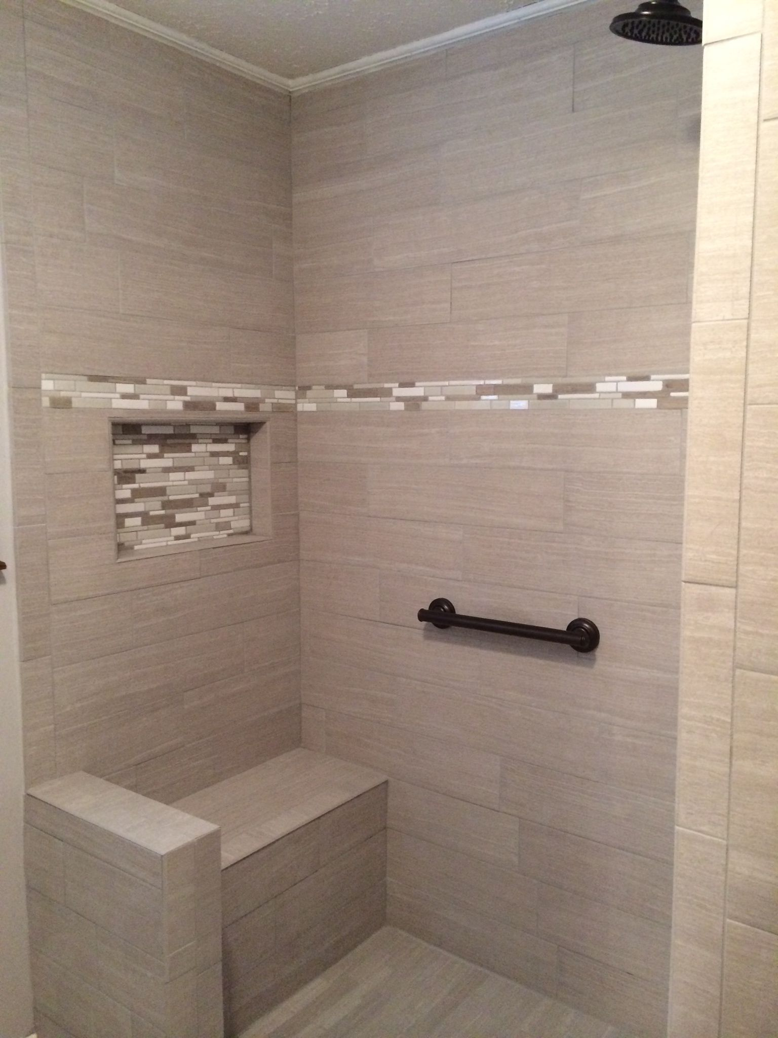 Gray Plank Tile Shower With Bench Funky Chateau