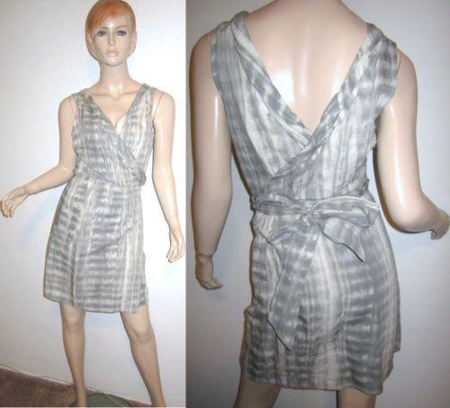 CALYPSO ST BARTH Linen Cotton Tie Dye Wrap Gray Dress L