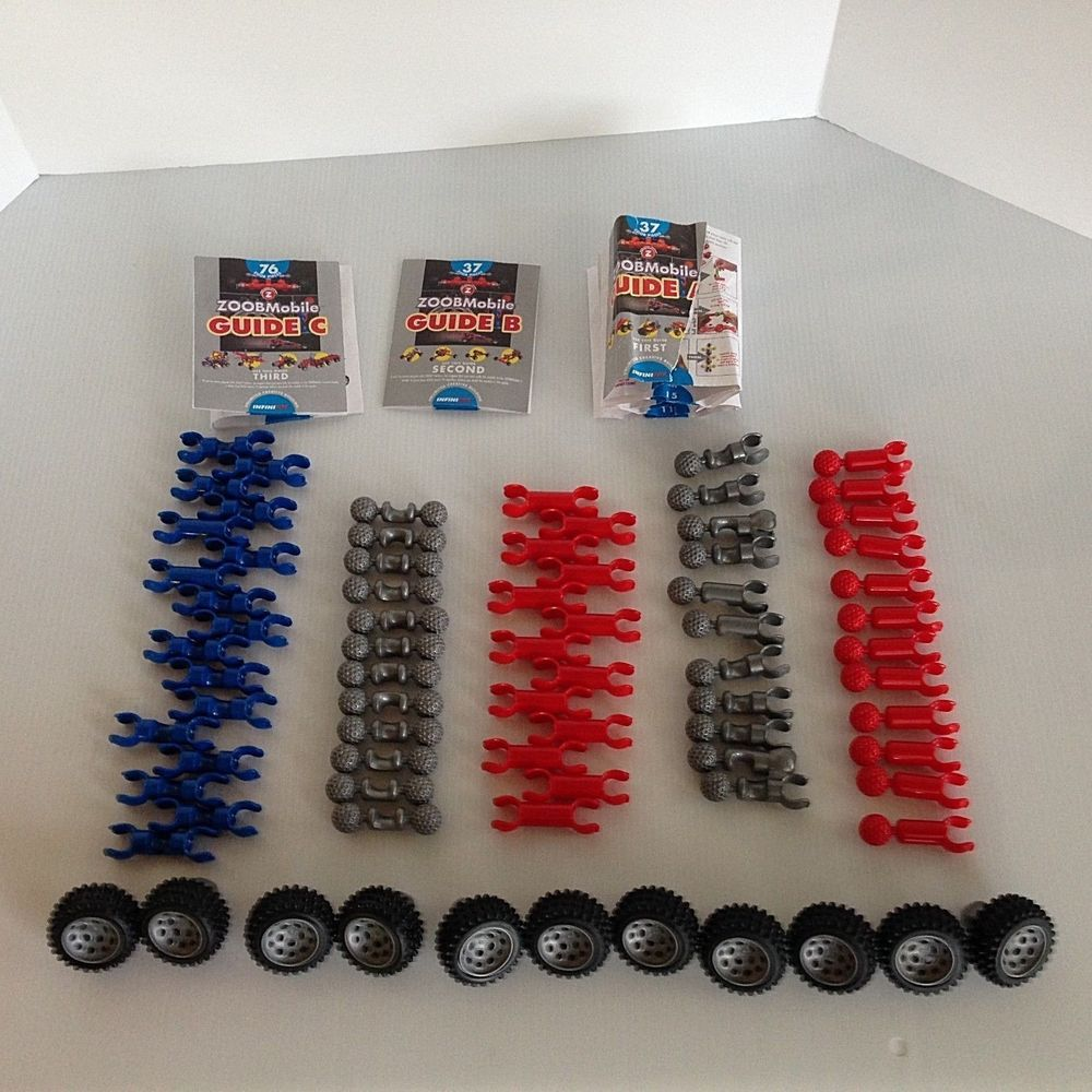 Zoobmobile Car Designer Lot Of 75 Pieces 3 Instruction Booklets