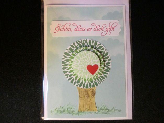 Liebe & Freundschaft - Schön, dass es Dich gibt - Grußkarte - Baum - ein Designerstück von kreativesherzerl bei DaWanda
