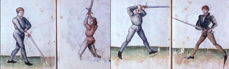 Basic guards of german longsword fencing. Left to right Alber (the fool), Vom Tag (the roof), Ochs (the ox), and Pfulg (the plow)