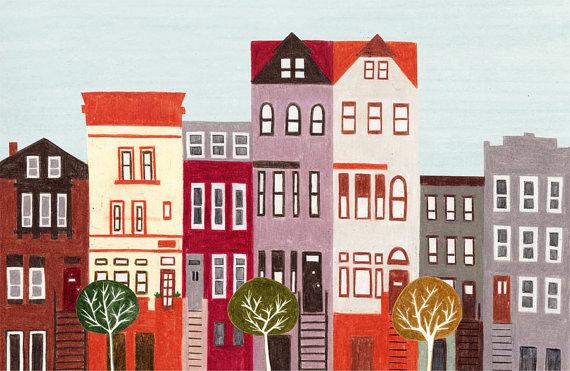 Brooklyn Nueva York gran ilustración colorida impresión por annasee, $30.00