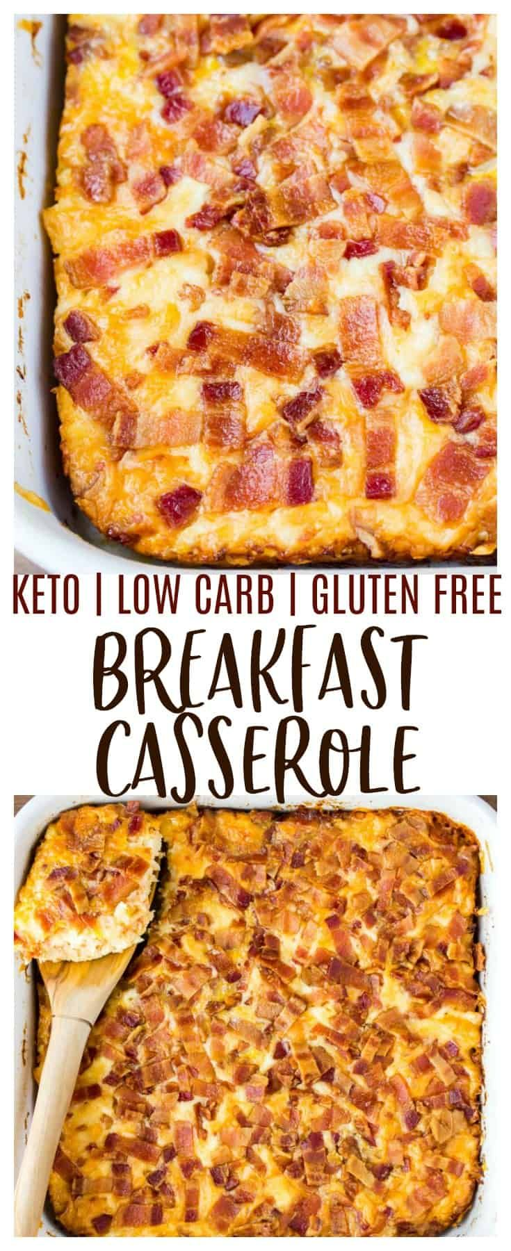 Keto Breakfast Casserole with Bacon, Cauliflower, and Cheese