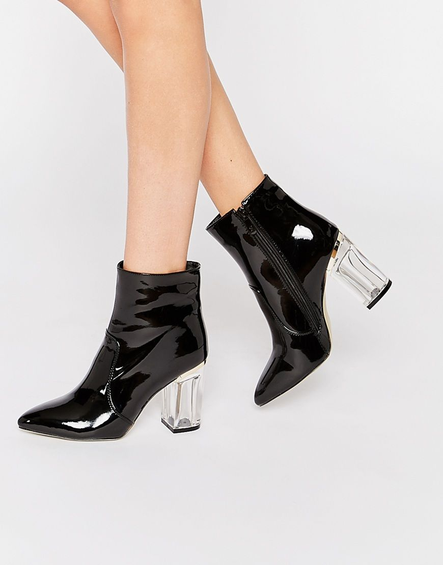 a2cf5213824 Public Desire | Public Desire Claudia Clear Heeled Patent Boots at ...