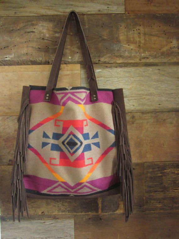 Pendleton Wool Aztec Western Handbag Tote Purse Leather Fringe Native Boho Usa In Clothing Shoes Accessories Women S Handbags Bags Purses