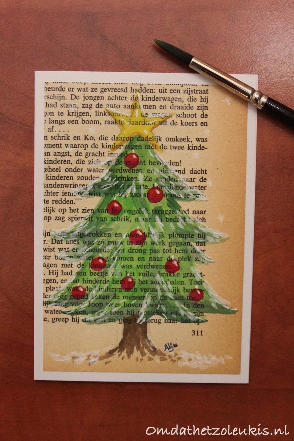 Kerstboom Geschilderd Op Een Bladzijde Uit Een Oud Boek Kerst Oldbook Oudeboeken Schilderen Kerst Oude Boeken En Wenskaarten